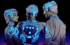 Left to right: Cindy Morgan as Yori, Bruce Boxleitner as Tron, and Jeff Bridges as Kevin Flynn in the 1982 Disney film Tron.
