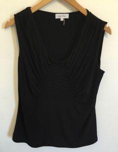 Calvin Klein women's Black Sleeveless Blouse Shirt Size Large Ruched Neckline #CalvinKlein #Blouse #Career