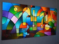 Resumen pintura geométrico pintura moderna por SallyTraceFineArt