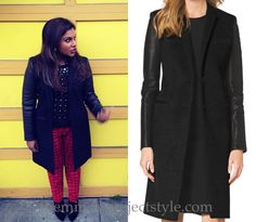 """Mindy adds sleek sophistication to her patterned and embellished outfit with this leather-sleeved single breasted black coat in """"Dinner At The Castellanos""""."""