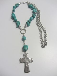 Turquoise Nuggets With A Silver Pewter Cross by JKCustomDesigns