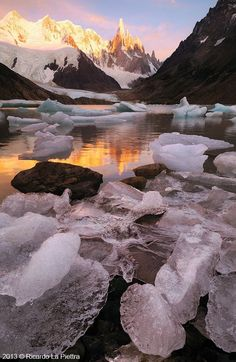 Cerro Torre ~ is one of the mountains in the Southern Patagonian Ice Field in South America. It is located on the border of Argentina and Chile.
