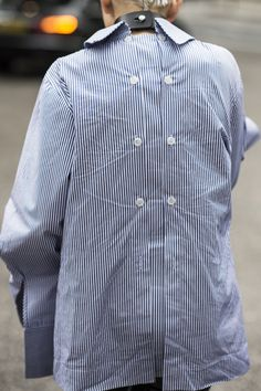 Street Style_back to front button interest on this pinstripe woven top | Saved by Gabby Fincham |