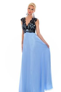 Black Lace Bodice & V Neck by Precious Formals, $298, preciousformals.com   - Seventeen.com
