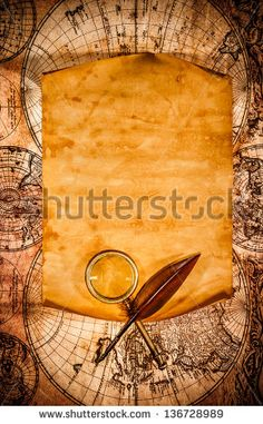 Blank Old Paper With Curled Edge Against The Background Of An Ancient Map