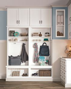 A mudroom can do wonders for your space. These smaller but highly functional areas give you extra storage and a place where everyone can hang their coats and bags, as well as a drop space for keys. Entryway Storage Cabinet, Entryway Organization, Storage Cabinets, Aristokraft Cabinets, Kitchen Banquette, Laundry Room Remodel, Quality Cabinets, Built Ins, Mudroom