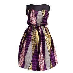 Iwa Sheer Top African Print Dress (Purple/Pink)