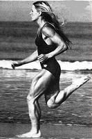 "Gayle Olinekova - Marathon runner, fitness guru and author, who in 1979 won the New Orleans Marathon in the third fastest time ever for a woman, who wrote 5 books on healthy lifestyles, but who is probably best known for her unusually chiseled and muscular legs which were profiled in a 1981 Sports Illustrated article as the ""Greatest Legs to Ever Stride on the Earth"" (she later posed nude for photographer Helmut Newton), and whose jogs on Venice beach in the early 80's would ""draw astonished…"