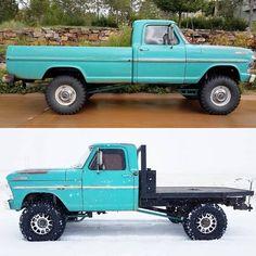 Image may contain: 1 person, tree, car and outdoor Big Ford Trucks, 1979 Ford Truck, Ford Ranger Truck, Classic Pickup Trucks, Car Ford, Diesel Trucks, Cool Trucks, Lifted Trucks, Farm Trucks