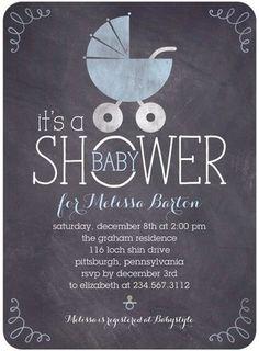 Chalkboard Buggy - Baby Shower Invitations - Sarah Hawkins Designs - Stream - Blue : Front