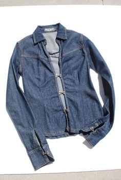 BISOU BISOU shirt denim long sleeve casual fitted cotton blend size xsmall #XS #BISOUBISOU #denimshirt #Casual