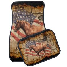Cantering Western Horse w Bald Eagle and US Flag Car Mat