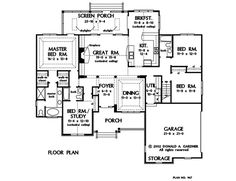 Plan of the Week Under 2500 sq ft - The Satchwell 967! 2097 sq ft, 4 beds, 3 baths. #WeDesignDreams #DonGardnerArchitects