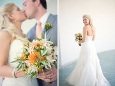 The groom's peach tie and hypericum berry boutonniere perfectly coordinates with the bride's bouquet. Dia Rao Photography. Anne Mendenhall Flowers.