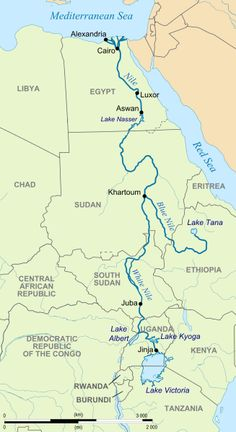 This is map of the Nile River. It flows through Egypt, Sudan, South Sudan, Kenya, and Ethiopia. This river is famous for being the longest river worldwide and for being the main habitat for the largest crocodiles in the world. Luxor, Tanzania, Kenya, Bible Timeline, Egypt Map, Nile River, World Geography, Ancient History, National Parks