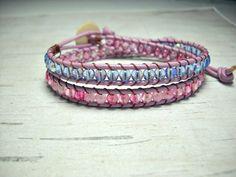 Beaded Double Wrap Bracelet Leather Wrap by BeadWorkBySmileyKit, $25.00