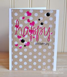 A Happy Anniversary card using Heidi Swapp Stencils, Avery Elle Simply Said: Happy Die, and coordinating Stamp set, as well as Black enamel Dots.  http://lindsayamrhein.blogspot.com/2014/08/aeiheartu-challenge-13-kraft.html