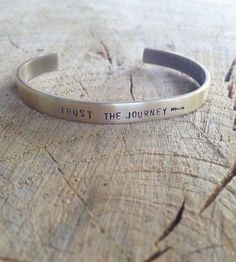 Whatever you want to say, say it on a bracelet. This raw brass cuff can be customized with a personal message on the inner or outer band. Cuff is slightly brushed for an antiued appearance.