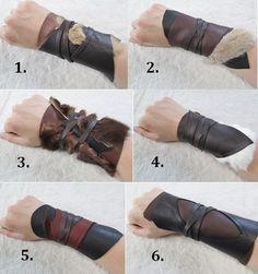 1 Tribal Leather Cuff bracelet Viking costume by FolkOfTheWoodCrafts, $20.00