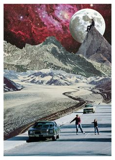 Mother & Son Rollerskate Below Mountain Range and The Moon Art Print by PhotoSalad