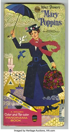 Mary Poppins - A Golden Color and Re-color Panorama Book with Magic Wipe off Crayons, Vintage Disney Posters, Disney Movie Posters, Cartoon Posters, Vintage Cartoon, Disney Movies, Walt Disney Mary Poppins, Disney Aesthetic, Old Cartoons, Old Movies