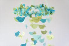 Bird Nursery Mobile Blue & Green Birds Baby by LoveBugLullabies, $63.00
