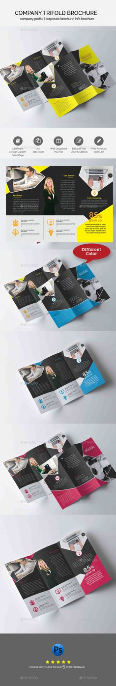 Business Trifold Brochure Template — Photoshop PSD #marketing #trifold brochure • Download ➝ https://graphicriver.net/item/business-trifold-brochure-template/19282975?ref=pxcr