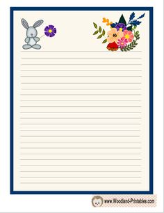 Cute Writing Paper with Rabbit and Flowers