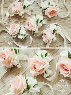 Pink Rose Wrist Corsage Bridesmaid corsage by MissHanaFloralDesign