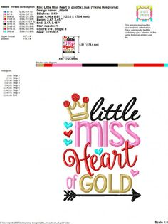 Embroidery design 5x7 6x10 Little Miss Heart of by SoCuteAppliques