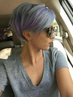 Purple Short Bob Hairstyles 2017 with Fringe