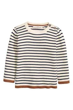 Natural white& Striped, fine-knit sweater in soft cotton fabric with buttons on one shoulder and contrasting trim at cuffs and hem. Cotton Jumper, Latest T Shirt, Striped Knit, Summer Wardrobe, Get Dressed, Boy Outfits, Fashion Online, Kids Fashion, Cotton Fabric