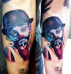 Realistic 3 colors Clown tattoo by artist Antonio Proietti Clown Tattoo, Cool Tattoos, Awesome Tattoos, World Tattoo, Realism Tattoo, Tattoos Gallery, Tattoo Photos, Twitter, Colors
