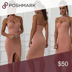 Sexy Strappy Nude Pink Bodycon Dress Cute soft pink dress. Fits true to size with stretch! {under this brand for views}. ⚠️🅿️ PP accepted for cheaper price! ⚠️ Nasty Gal Dresses Midi