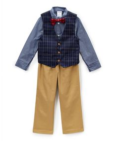 Dark Blue Plaid Vest Set - Infant, Toddler & Boys
