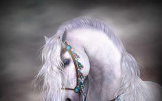 Beautiful White Horse Fantasy Artwork Wallpaper #2167 Wallpaper