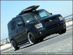 custom honda element - Roof rack, surfboard on top, rims, beach ready, perfect. Honda Element Camping, Honda S, Surf City, Mode Of Transport, Beach Ready, Roof Rack, Pickup Trucks, Custom Cars, Concept Cars