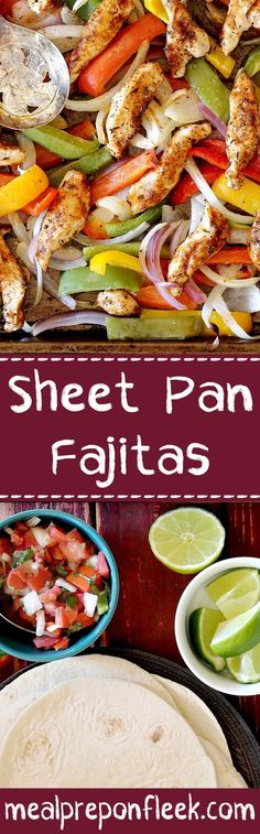 Let the oven do all of the work for these Sheet Pan Chicken Fajitas. All you need is one pan and about 20 minutes to have a healthy and wholesome meal prep ready for the entire week!