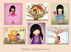Please visit my shop at: https://www.etsy.com/shop/jolinne?ref=si_shop  Childrens room art, kids room decor, baby nursery art, kids posters, set of 6 art