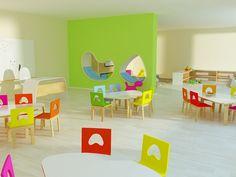 rainbow kindergarten interior design on Behance