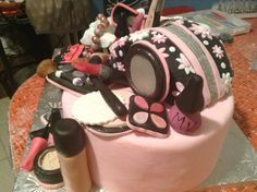 Two of three fondant covered cakes for Mary Kay cosmetic cake by krumbs kustom kakes, Provo, Utah