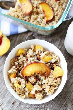 Easy Baked Peach Almond Oatmeal Recipe on twopeasandtheirpod.com