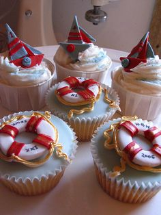 Nautical cupcakes designed for a Magazine shoot! by kylie lambert (Le Cupcake), via Flickr
