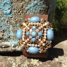 Vintage Turquoise, Pearl and Rhinestone Brooch Leather Cuff Bracelet, Jeweled Cuff Bracelet, Jeweled Leather Cuff, Free Shipping by TheVintageVibeFinds on Etsy