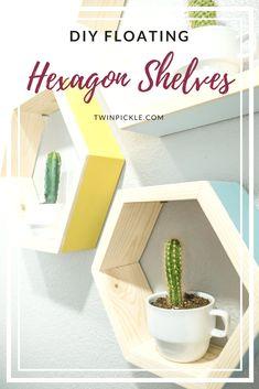DIY floating hexagon shelves pin