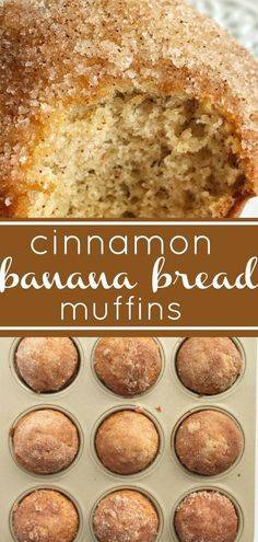 Cinnamon banana bread - Cinnamon Banana Bread Muffins The best banana muffin recipe is moist and topped with cinnamon & sugar sprinkles Tastes like banana bread but in a muffin bananabread muffins snackrecipes Cinnamon Banana Bread, Cinnamon Crumble, Banana Bread Recipes, Cinnamon Muffins, Cinnamon Butter, Banaba Muffins, Banana Muffins 2 Bananas, Banana Bread Cookies, Banana Bread Brownies