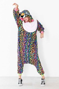 Want this onesie rainbow cheetah onesie the most beautiful onesie ever