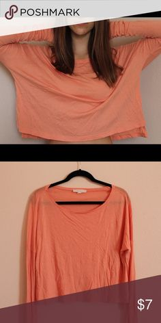 Soft drapey peach long-sleeved shirt Very comfortable, light, and flowy. Looks wrinkled in picture but easily ironed! Forever 21 Tops Tees - Long Sleeve