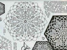 Crochet Doily Diagram, Crochet Doilies, Crochet Lace, Flower Patterns, Crochet Patterns, Crochet Tablecloth, Stitch, Knitting, Handmade