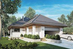 Projekt domu parterowego Morgan III o pow. 107,05 m2 z obszernym garażem, z dachem kopertowym, z tarasem, sprawdź! Gazebo, Pergola, Dream House Plans, Atrium, Outdoor Structures, Studio, Outdoor Decor, Home Decor, Bathroom